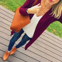 Instagram media by dreamalittledreamvt - This beautiful burgundy duster has stolen my heart ❤️ Cognac and burgundy might be one of my absolute favorite combos. My booties are still on sale for less than $100!!! 😱 Shop my look here ➡️[ http://liketk.it/2pL7N ] using @liketoknow.it #liketkit I could not link this cardi but I found some similar ones for you 😍 I have spent the entire day listening to Christmas music and I can't wait to get our tree!! 🎄🎄🎄