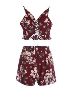 Spaghetti Straps Crop Top and Print Shorts Twinset #womensfashion #pinterestfashion #buy #fun#fashion