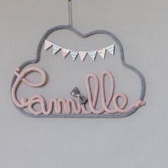 Mobile prénom tricotin nuage et fanions 100% personnalisable