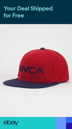 87d13188301 RVCA - TWILL Mens Snapback Hat (NEW) Six 6 Panel VA Cap RED Ruca   FREE  SHIPPING