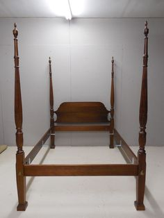 Chippendale Style Mahogany Rice Carved High Quality Custom Full Size Poster  Bed