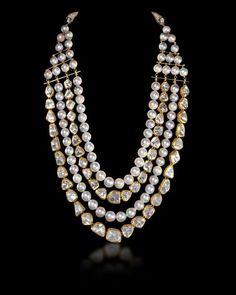 Un-cut diamond and pearl necklace