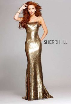 Sherri Hill Gold Shimmering Gown, WOW