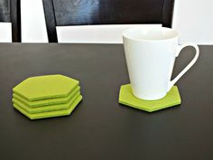 Lime Green Hexagon Coasters Set Of 4 Drink coasters by FeltWarmth
