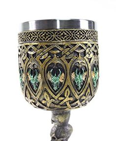 Amazon.com | Mythical Bronze Royal Dragon Wine Goblet Skulls Medieval Collectible Magical Halloween Party Home Decor Gift: Goblets & Chalices