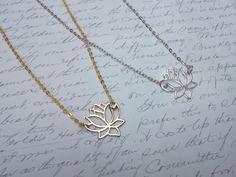 Gold / silver lotus flower necklace by BijouxdeBrigitte on Etsy https://www.etsy.com/listing/216640094/gold-silver-lotus-flower-necklace