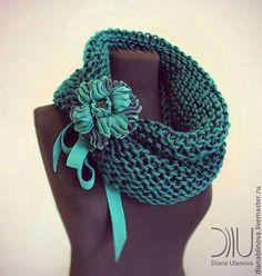 Шарф -хомут изумрудный - тёмно-зелёный,однотонный,шарф женский,красивый шарф