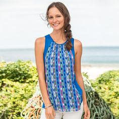 """IKAT SKY TOP--A delicate, shirred silk overlay in tribal-inspired patterns adds an elegance to our easy-going, jersey knit top. Racerback with keyhole, button closure. Silk/cotton spandex knit. Dry clean. Imported. Exclusive. Sizes XS (2), S (4 to 6), M (8 to 10), L (12 to 14), XL (16). Approx. 25""""L."""