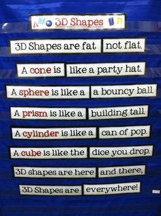 Here's a great poem on 3D shapes. I would love to use this because not only does it teach shapes but I can also take this opportunity to teach about poems.