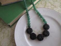 "Beaded Necklace, Carved Black Cinnabar & Semi-Precious Adventurine Green Stone Bead Necklace - 16"" to 18"" Adjustable on Etsy, $29.00"