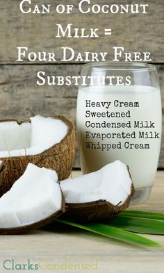 Four Great Dairy Free Substitutes Need a dairy free substitute? Coconut milk to the rescue! Here are four ways to use coconut milk to make substitutes for heavy cream, sweetened condensed milk, evaporated milk, and whipped cream! Lactose Free Recipes, Dairy Free Diet, Gluten Free, Paleo Dairy, Lactose Free Desserts, Dairy Free Snacks, Lait Vegan, Whole Food Recipes, Cooking Recipes