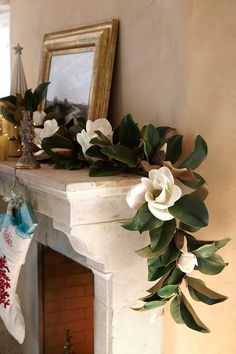 Our graceful Magnolia Garland is inspired by blooms gracing a stately southern home. Each petal and leaf is unique, just like the real thing!