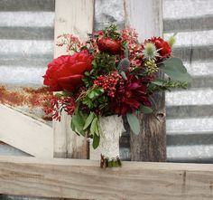 Burgundy Green Red Bouquet Fall Winter Wedding Flowers Photos & Pictures - WeddingWire.com