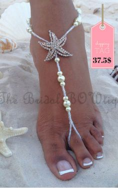 Starfish Barefoot Sandals, Beach Wedding Barefoot Sandal, Bridal Barefoot Sandals, Bridal Foot Jewelry, Footless Sandal is part of Beach Wedding jewelry - TheBridalBOWtique ref shopsection shophome leftnav Thank you for stopping by! Beach Wedding Sandals, Beach Sandals, Wedding Beach, Beach Shoes, Beach Wedding Footwear, Beachy Wedding Dresses, Shoes Sandals, Summer Sandals, Starfish Sandals