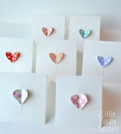 Little Birdie Secrets: love notes {easy note cards}...this is such an adorable idea which would be so easy to customize...something my Husband would appreciate throughout the year! <3