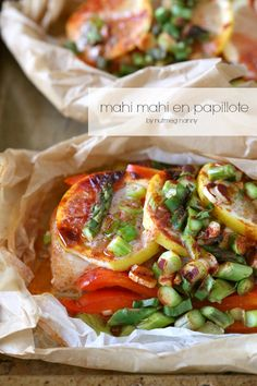 Mahi Mahi En Papillote - This simple dish combines fresh fish lemon asparagus red bell pepper and smoked paprika. Fish Dishes, Seafood Dishes, Fish And Seafood, Main Dishes, Fish Recipes, Seafood Recipes, Dinner Recipes, Cooking Recipes, Healthy Recipes