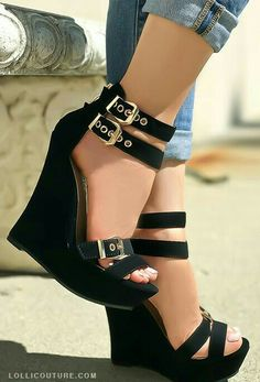 Two-buckle-strap style at ankle heels measure Dream Shoes, Crazy Shoes, Me Too Shoes, Ankle Heels, Wedge Heels, Heeled Sandals, Shoes Heels Wedges, Chunky Sandals, Strap Sandals