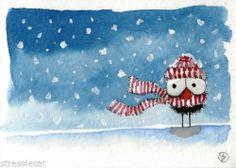 ACEO Original painting Folk Art Christmas winter snow bird crow scarf hat alone