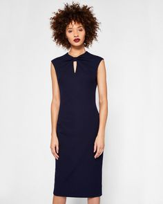 bc3b5562b2311e Bow neck bodycon dress - Navy