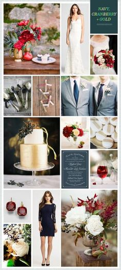 Kind of like these colors!  Today's REVEL By Request is for bride Sandra who emailed in wanting a navy, cranberry, gold and silver inspiration board for her Winter 2013 wedding.