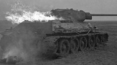 Battle of Kursk Salient 1943 A T-34/76 tank after being hit hard by a Panzer V, Panther, tank at the.feb16