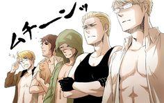 America, Greece, Turkey, Germany,  Sweden, the muscles of Hetalia!