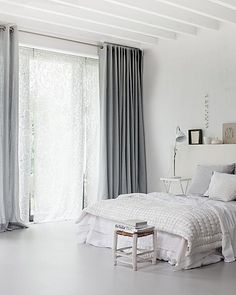 White bedroom with grey. White bedroom with gray curtains. White bedroom with gray curtains White Bedroom, Interior, Home Bedroom, Bedroom Design, Grey Curtains, Home Decor, Curtains, Bedroom Inspirations, Home Deco