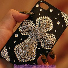 Cross Crystal iPhone 5 cases, iphone 4,4s back cover ,Pearl Cell phone cover,. $19.90, via Etsy.