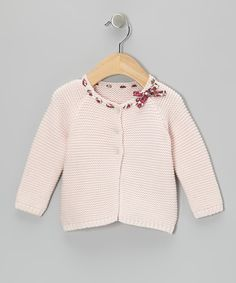 Take a look at this Blush Pink Floral Ribbon Cardigan - Infant on zulily today!