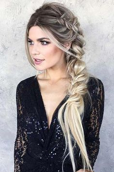 9 Artistic Tricks: Braided Hairstyles For Work women hairstyles with bangs Hairstyles Color brunette hairstyles color. Side Braid Hairstyles, Baddie Hairstyles, Prom Hairstyles, Black Hairstyles, Hairstyles Pictures, Wedding Hairstyles Side, Hairstyle Ideas, Fishtail Braid Hairstyles, Long Hairstyles