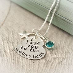 I Love You To the Moon and Back Sterling Silver Personalized Hand Stamped Heart Necklace with Birthstone and Star Charm