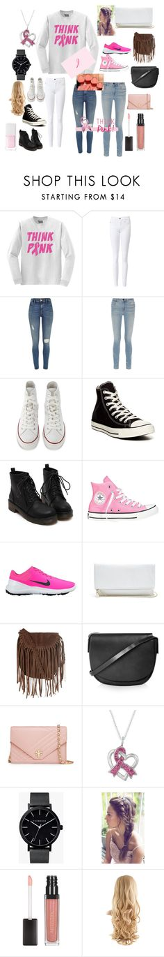 """""""Breast Cancer Awareness Month"""" by hespree ❤ liked on Polyvore featuring River Island, Alexander Wang, Converse, NIKE, GUESS, Glamorous, Topshop, Tory Burch, The Horse and Avon"""