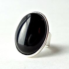 Black Onyx Ring Gemstone Oval Statement Ring Adjustable by Pilboxx