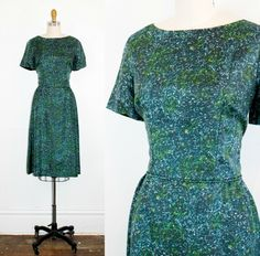 Vintage 1960s silk dress . Sea Glass . blue and green stained glass 60s day dress . fitted dress by VoyeurVintage on Etsy