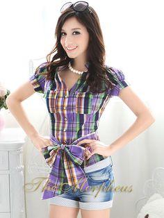 Morpheus Boutique  - Purple Plaid Designer Vintage Lady Bow Shirt, $37.99 (http://www.morpheusboutique.com/purple-plaid-designer-vintage-lady-bow-shirt/)