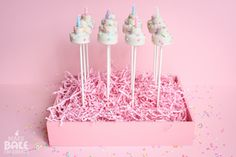 cake pop stand hidden in a wooden box w/ easter straw