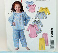 Products McCalls Child Girls Pajamas Nightgown Top Pants Pattern Size Bracelets- Tips on h Pajama Pattern, Pants Pattern, Stylish Dresses For Girls, Little Girl Dresses, Childrens Sewing Patterns, Clothing Patterns, Night Suit, Night Gown, Childrens Pyjamas