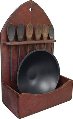 Primitive WOOD SHELF ~ Wooden Shelves Bowl/Spoon Holder   eBay