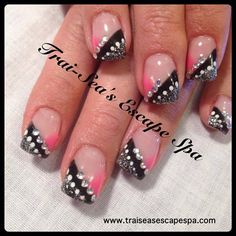 Pink, Black & Silver Bling by TraiSeasEscape - Nail Art Gallery nailartgallery.nailsmag.com by Nails Magazine www.nailsmag.com #nailart