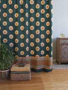 Pool Of Tranquility ~ Floral Lotus Green Shower Curtain