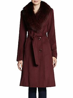 Beat this freezing cold weather and stay warm in this Fur-Collar Wool-Blend Coat from @Saks Fifth Avenue OFF 5TH