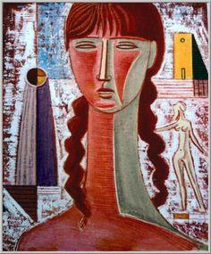 Mario Tozzi: 1969 Figura. Olio su Tela cm.55x46 - Collezione Privata Fermo - Archivio numero 343 - Catalogo Generale dei Dipinti numero 69/14.