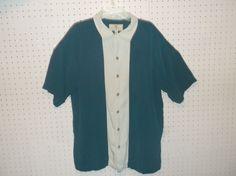 Island Shores 100% Washable Silk Hawaiian Shirt Size LARGE #IslandShores #Hawaiian