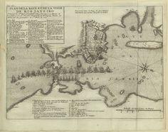 """D.S. XVIII – 180 – René DUGUAY-TROUIN  (1673 – 1736) «Plan de la baye de la ville de Rio Janeiro située par les 23 degrez de latitude sud… par Mr. Duguay Trouin, et armée par les particuliers de St. Malo en 1711». Gravura ; matriz 22,6x3ocm, em folha de 25x31,5 cm.  In: """"Memoires de Monsieur Du Guay-Trouin…"""". A Amsterdam : chez Pierre Mortier, 1741, entre p. 160 e 161. Cota BNP D.S. XVIII – 180"""