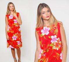 Vintage 60s HAWAIIAN Dress TROPICAL Floral Mini Dress by LotusvintageNY