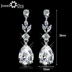 Wedding Vivid CZ Stone Rhodium Plated Jewelry Sparkling Lady Drop Earrings For Women – CAD $ 12.50