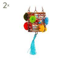 Set de 2 portavelas colgantes Ponto, multicolor - altura 8 cm
