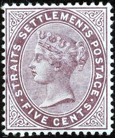 Straits Settlements 1882 5¢. Purple-brown - SG48