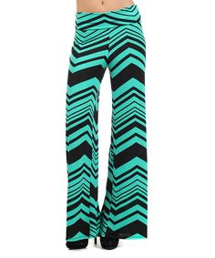 Look what I found on #zulily! Aqua & Black Zigzag Palazzo Pants by Pretty Young Thing #zulilyfinds