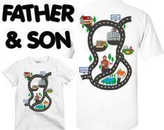 Dad & Son Matching T-shirt Gift Set, Children's Gift Dads Car T shirt Fathers Day Gift Car Play Mat Shirt Christmas Gift SCREEN PRINTED